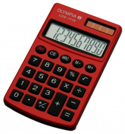 Olympia LCD-1110 - Taschenrechner - rot - 10-stelliges LCD - Solar/Batterie - Schutzetui